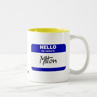 Hello My Name Is Milton (Blue) Two-Tone Coffee Mug