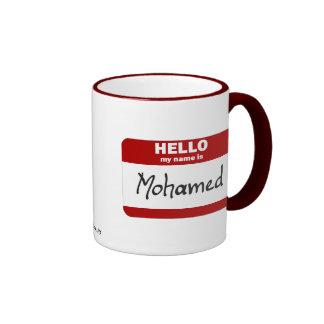 Hello My Name Is Mohamed (Red) Ringer Coffee Mug