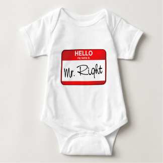 Hello My Name is Mr Right Baby Bodysuit