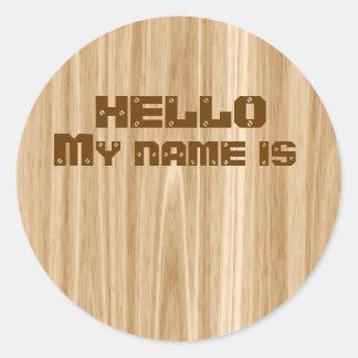 Hello My Name Is Nametag Stickers Wood Grain Look