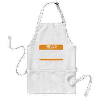 Hello My Name Is - Orange Adult Apron