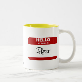 Hello My Name Is Piper (Red) Two-Tone Coffee Mug