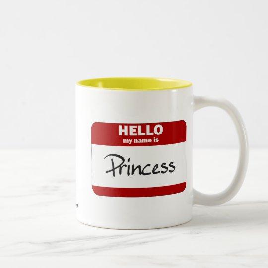 Hello My Name Is Princess (Red) Two-Tone Coffee Mug