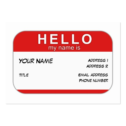 Hello My Name is Profile Card Large Business Cards (Pack Of 100)