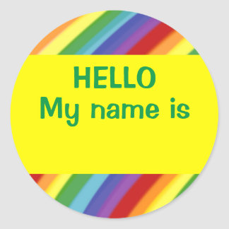 Hello My Name Is Rainbow Nametag Stickers Gay/Kids