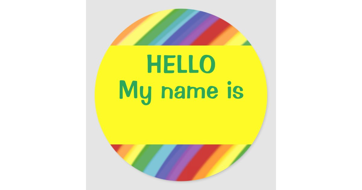 Hello My Name Is: Hello My Name Is Rainbow Nametag Stickers Gay/Kids