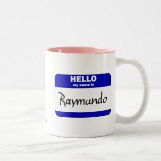 Hello My Name Is Raymundo (Blue) Two-Tone Coffee Mug