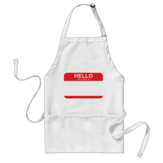 Hello My Name Is - Red Adult Apron