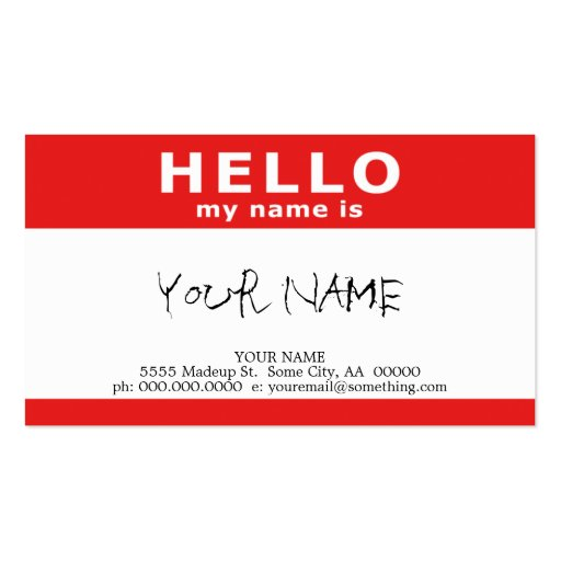 hello my name is : red business card templates