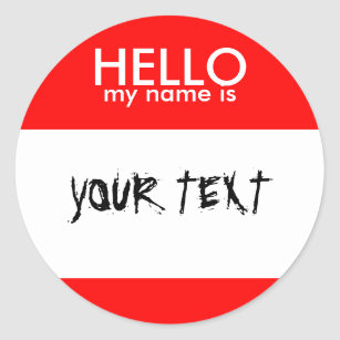 Hello My Name Is Red Classic Round Sticker
