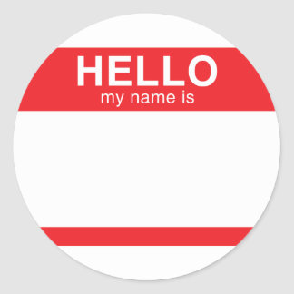 Hello My Name Is - Red Classic Round Sticker