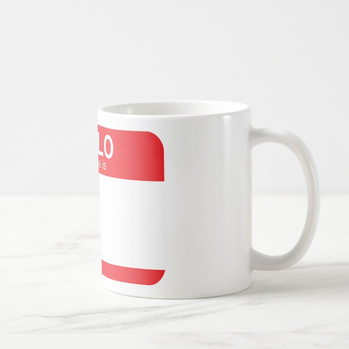 Hello My Name Is - Red Coffee Mug