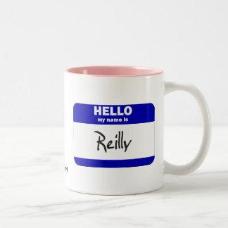 Hello My Name Is Reilly (Blue) Two-Tone Coffee Mug