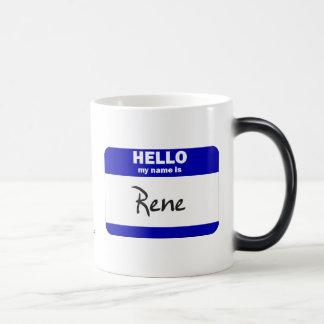 Hello My Name Is Rene (Blue) 11 Oz Magic Heat Color-Changing Coffee Mug