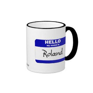 Hello My Name Is Roland (Blue) Ringer Mug