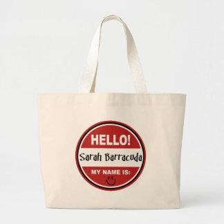 Hello My Name is Sarah Barracuda Palin Large Tote Bag