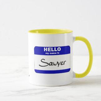 Hello My Name Is Sawyer (Blue) Mug