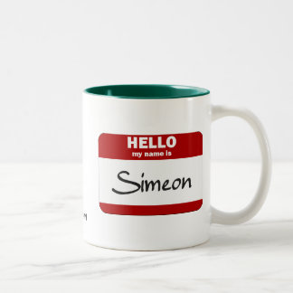 Hello My Name Is Simeon (Red) Two-Tone Coffee Mug