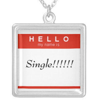 Hello my name is Single name badge Square Pendant Necklace