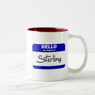 Hello My Name Is Sterling (Blue) Two-Tone Coffee Mug