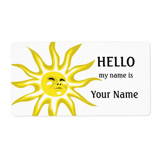 Hello my name is sunshine label template zazzle for Hello my name is sticker template