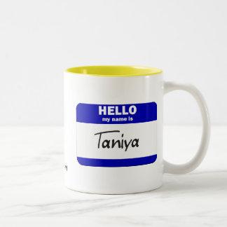 Hello My Name Is Taniya (Blue) Mugs