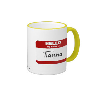Hello My Name Is Tianna (Red) Ringer Mug