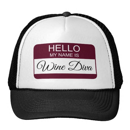Hello My Name is Wine Diva Name Badge Trucker Hat