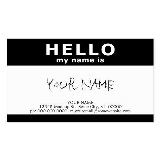 hello my name is (with QR code) Business Card