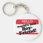 Hello My Name Is World's Best Boyfriend Keychain