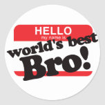 Hello My Name Is World's Best Brother Classic Round Sticker