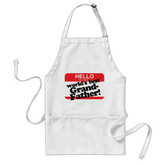 Hello My Name Is World's Best Grandfather Aprons