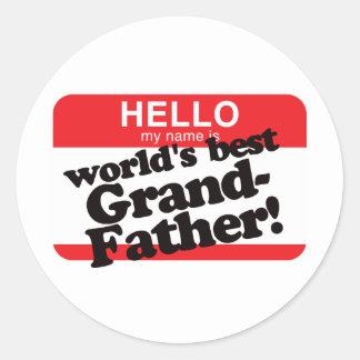 Hello My Name Is World's Best Grandfather Round Sticker