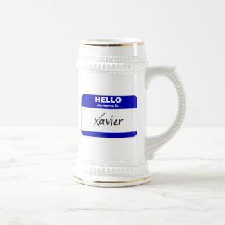 Hello My Name Is Xavier (Blue) Beer Stein