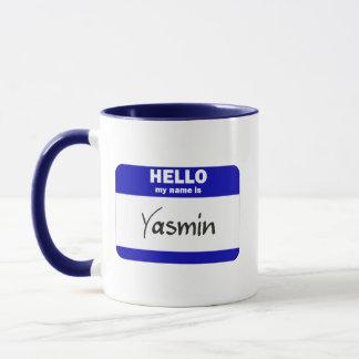 Hello My Name Is Yasmin (Blue) Mug