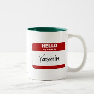 Hello My Name Is Yasmin (Red) Two-Tone Coffee Mug