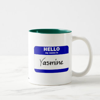 Hello My Name Is Yasmine (Blue) Two-Tone Coffee Mug