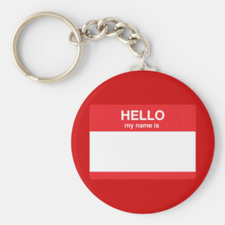 Hello, my name is (your text) keychain