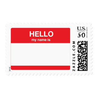 Hello, my name is (your text) postage