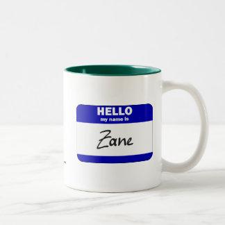 Hello My Name Is Zane (Blue) Two-Tone Coffee Mug