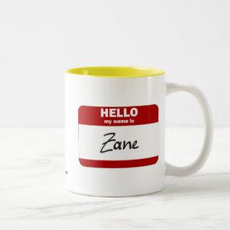 Hello My Name Is Zane (Red) Two-Tone Coffee Mug