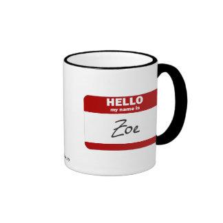 Hello My Name Is Zoe (Red) Ringer Mug