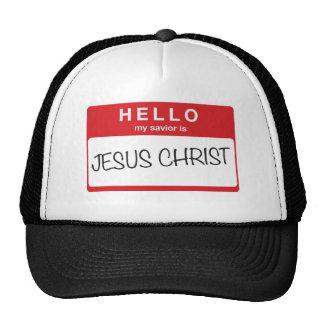 Hello My Savior is Jesus Christ Hats