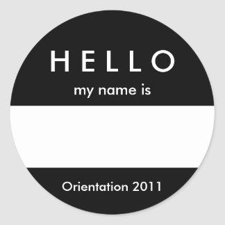 Hello Name Tag Sticker Customize Color and Message