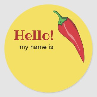Hello name tag with hot chili pepper