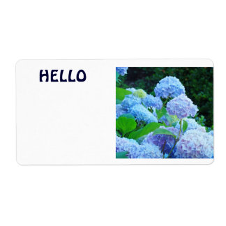 HELLO Name Tags Blue Hydrangea Flowers Label