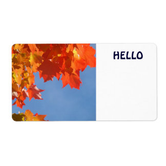 Hello Name Tags Conferences Autumn Leaves Vistiors Shipping Label
