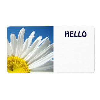 Hello Name Tags White Daisy Flowers Custom Shipping Label