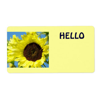 Hello Name Tags Yellow Sunflowers Sun Flowers Shipping Label