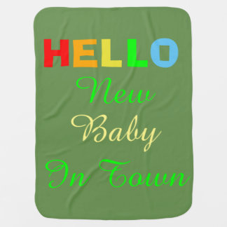 Hello New Baby in Town Green Blanket